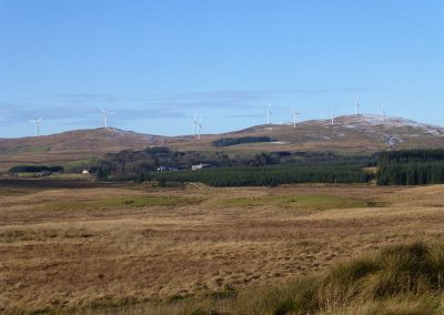 Blackcraig operational windturbines (110m) looking North West from Glaisters Bridge. Garcrogo turbines would be nearly twice the height at up to 200m and Whiteneuk turbines nearly two and a half times the height at up to 250m.