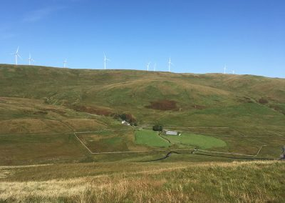 Looking north to Whiteside Hill, with Polgown in the foreground. The proposed site for Sanquhar II (up to 200m) turbines. Also in view are operational Whiteside Hill turbines; the Sanquhar II turbines will join up with these.
